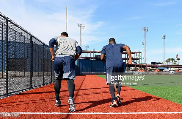 Joe Jimenez and Jose Valdez of the Detroit Tigers run sprints during the Spring Training workout day at the TigerTown Facility on February 17 2016 in...