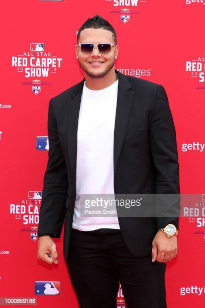 Joe Jimenez of the Detroit Tigers and the American League attends the 89th MLB AllStar Game presented by MasterCard red carpet at Nationals Park on...