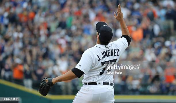 Joe Jimenez of the Detroit Tigers celebrates a win over the Toronto Blue Jays at Comerica Park on June 2 2018 in Detroit Michigan Detroit defeated...