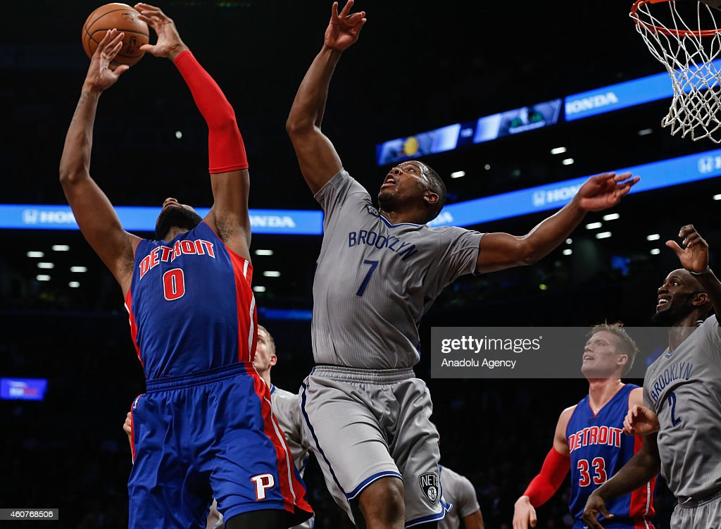 Joe Johnson #7 of Brooklyn Nets in action against Andre Drummond #0 of Detroit Pistons during NBA basketball game between Brooklyn Nets and Detroit Pistons at the Barclays Center in the Brooklyn Borough of New York City, on December 21, 2014.