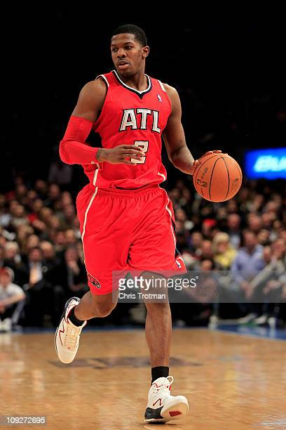Joe Johnson of the Atlanta Hawks dribbles the ball against the New York Knicks at Madison Square Garden on February 16 2011 in New York City NOTE TO...