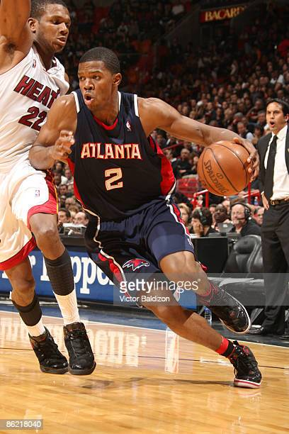 Joe Johnson of the Atlanta Hawks drives against James Jones of the Miami Heat in Game Three of the Eastern Conference Quarterfinals during the 2009...