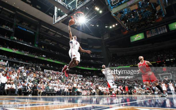 Joe Johnson of the Atlanta Hawks dunks against the Chicago Bulls in Game Four of the Eastern Conference Semifinals during the 2011 NBA Playoffs on...