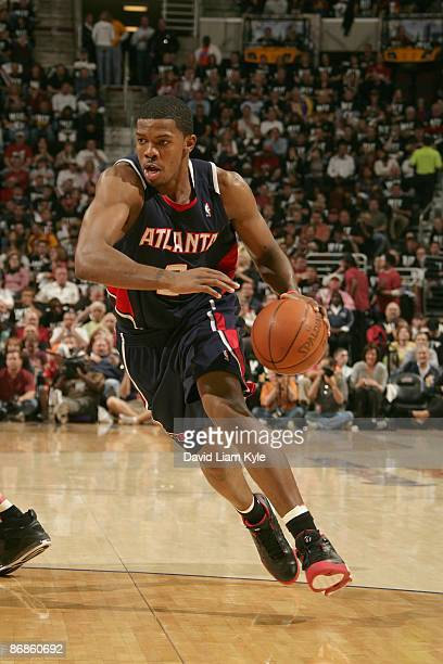 Joe Johnson of the Atlanta Hawks moves the ball against the Cleveland Cavaliers in Game One of the Eastern Conference Semifinals during the 2009 NBA...