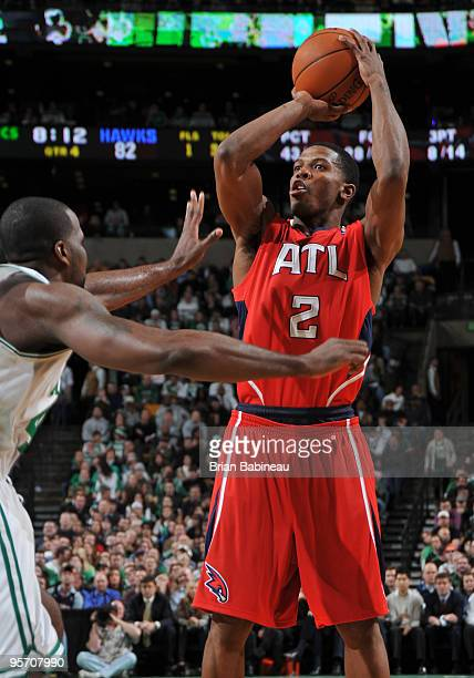 Joe Johnson of the Atlanta Hawks puts up a shot against Kendrick Perkins of the Boston Celtics on January 11 2010 at the TD Garden in Boston...