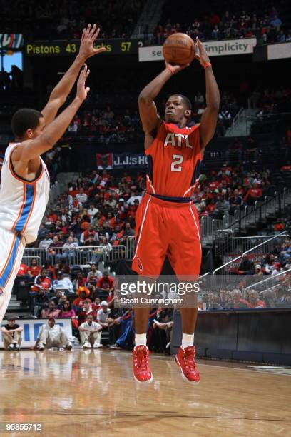 Joe Johnson of the Atlanta Hawks puts up a shot against the Oklahoma City Thunder on January 18 2010 at Philips Arena in Atlanta Georgia NOTE TO USER...