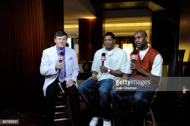 Joe Johnson of the Atlanta Hawks speaks to Craig Sager and Gary Payton during NBA AllStar Media Availability as part of the 2009 NBA AllStar Weekend...
