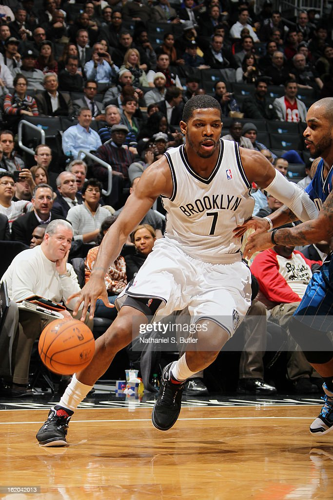 Joe Johnson #7 of the Brooklyn Nets drives to the basket against the Orlando Magic on January 28, 2013 at the Barclays Center in the Brooklyn borough of New York City.