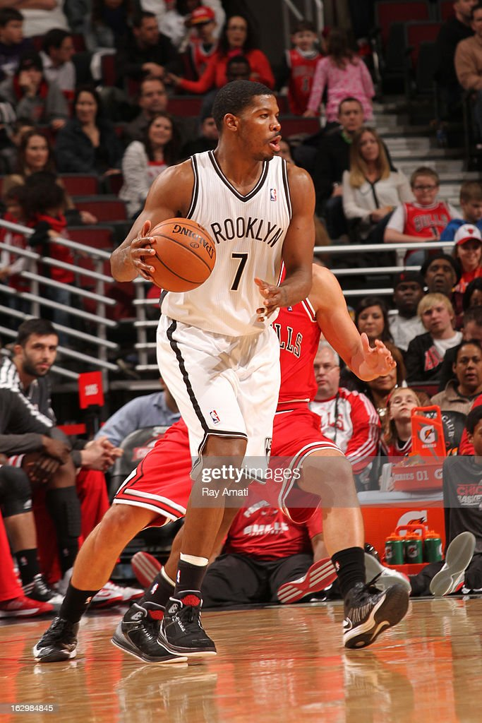 Joe Johnson #7 of the Brooklyn Nets handles the ball against the Chicago Bulls on March 2, 2013 at the United Center in Chicago, Illinois.