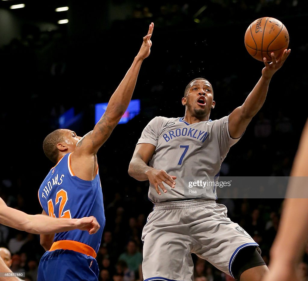 Joe Johnson #7 of the Brooklyn Nets heads for the net as Lance Thomas #42 of the New York Knicks defends at the Barclays Center on February 6, 2015 in the Brooklyn borough of New York City.The Brooklyn Nets defeated the New York Knicks 92-88.