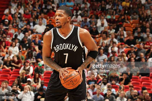 Joe Johnson of the Brooklyn Nets looks to move the ball against the Miami Heat during the game on December 28 2015 at American Airlines Arena in...
