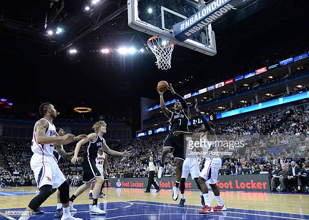 Joe Johnson of the Brooklyn Nets shoots against the Atlanta Hawks as part of the 2014 Global Games on January 16 2014 at The O2 Arena in London...