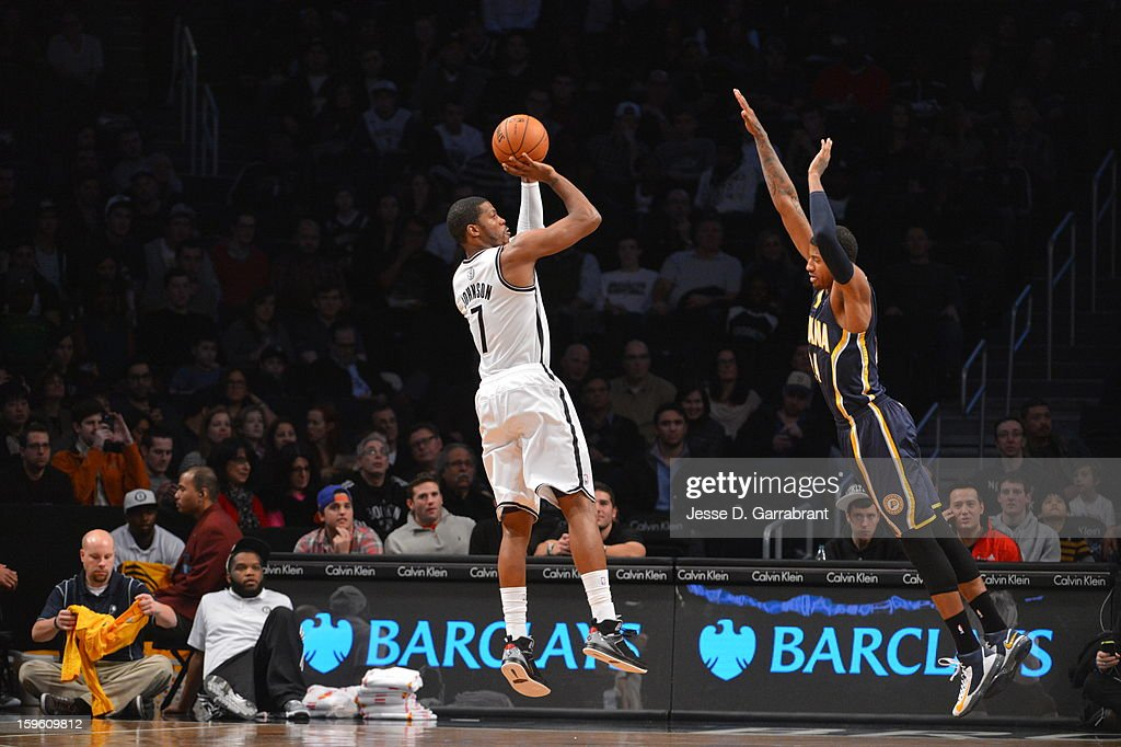 Joe Johnson #7 of the Brooklyn Nets shoots the ball against the Indiana Pacers during the game at the Barclays Center on January 13, 2013 in Brooklyn, New York.