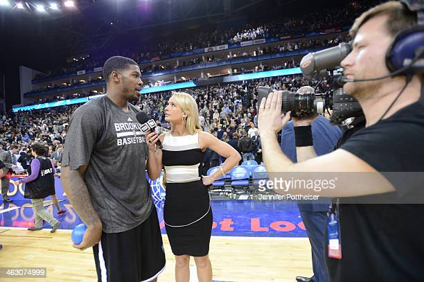 Joe Johnson of the Brooklyn Nets speaks to the media after the game against the Atlanta Hawks as part of the 2014 Global Games on January 16 2014 at...
