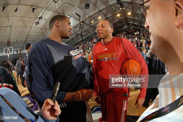 Joe Johnson of the East All-Stars talks to Shawn Marion of the West All-Stars following the 2007 East All Star Practice at NBA Jam Session Center...