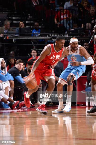 Joe Johnson of the Houston Rockets handles the ball against the Sacramento Kings on February 14 2018 at the Toyota Center in Houston Texas NOTE TO...