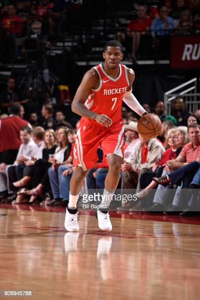 Joe Johnson of the Houston Rockets handles the ball against the Boston Celtics on March 3 2018 at the Toyota Center in Houston Texas NOTE TO USER...