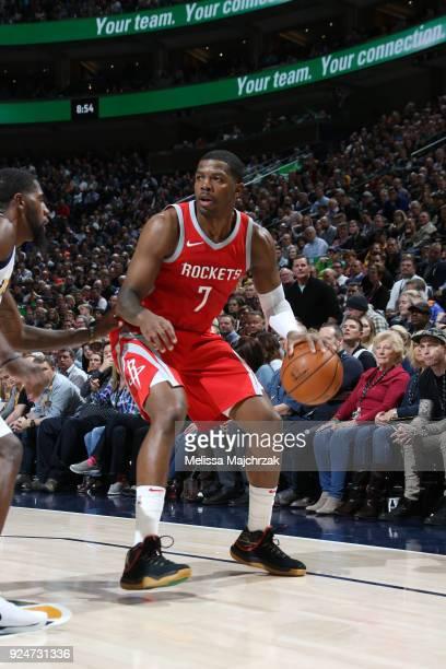 Joe Johnson of the Houston Rockets handles the ball against the Utah Jazz on February 26 2018 at vivintSmartHome Arena in Salt Lake City Utah NOTE TO...