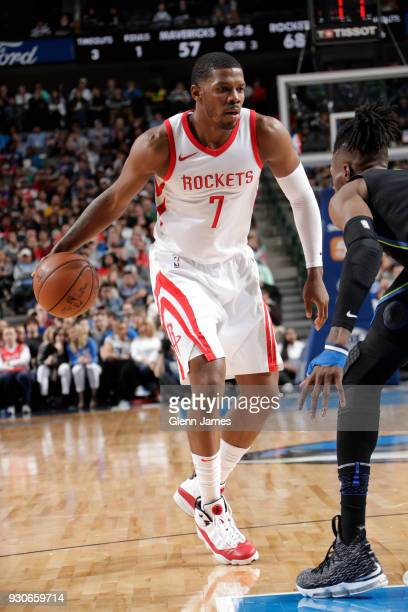 Joe Johnson of the Houston Rockets handles the ball during the game against the Dallas Mavericks on March 11 2018 at the American Airlines Center in...