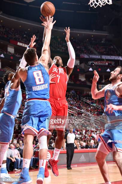 Joe Johnson of the Houston Rockets shoots the ball against the Sacramento Kings on February 14 2018 at the Toyota Center in Houston Texas NOTE TO...