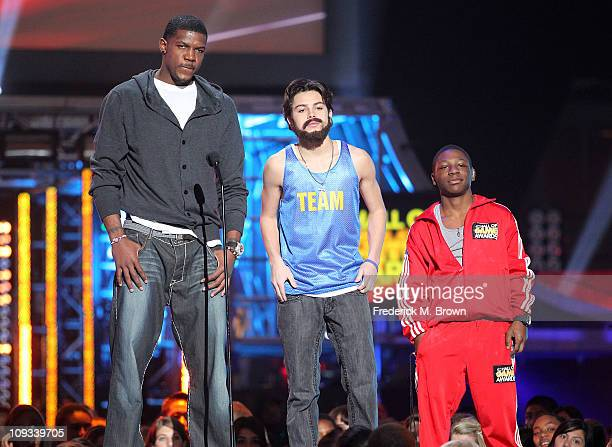 Joe Johnson of the National Basketball Association actor Jake T Austin and Bobb'e J Thompson speak during the First Annual Cartoon Network's Hall of...