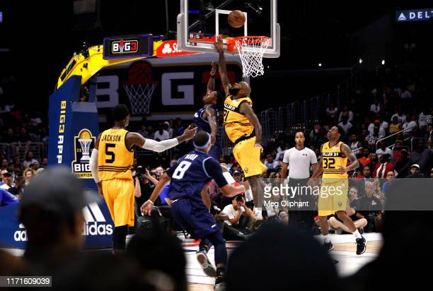 Joe Johnson of the Triplets and Josh Powell of Killer 3s compete for the rebound during the BIG3 Championship game at Staples Center on September 01,...