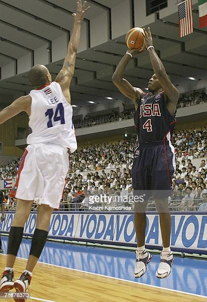 Joe Johnson of the USA Basketball Team shoots against against Puerto Rico during the preliminary round of FIBA World Championships 2006 on August 19...