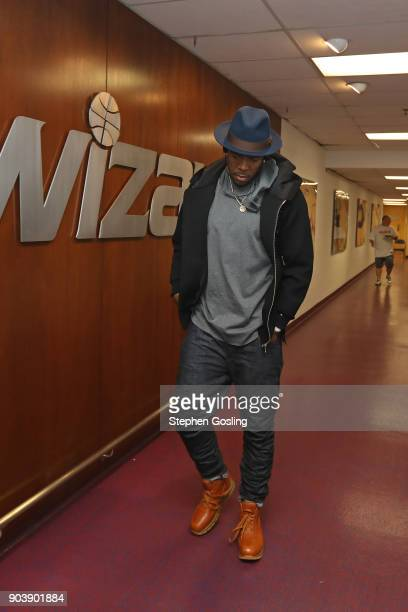 Joe Johnson of the Utah Jaz arrives at arena before the game against the Washington Wizards on January 10 2018 at Capital One Arena in Washington DC...