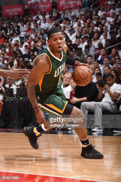Joe Johnson of the Utah Jazz handles the ball against the LA Clippers during Game Seven of the Western Conference Quarterfinals of the 2017 NBA...
