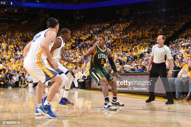 Joe Johnson of the Utah Jazz handles the ball against the Golden State Warriors during Game One of the Western Conference Semifinals of the 2017 NBA...