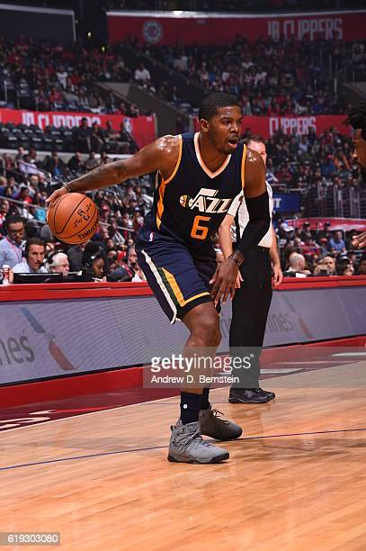 Joe Johnson of the Utah Jazz handles the ball against the Los Angeles Clippers on October 30 2016 at STAPLES Center in Los Angeles California NOTE TO...