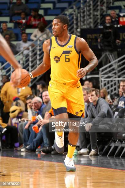 Joe Johnson of the Utah Jazz handles the ball against the New Orleans Pelicans on February 5 2018 at Smoothie King Center in New Orleans Louisiana...