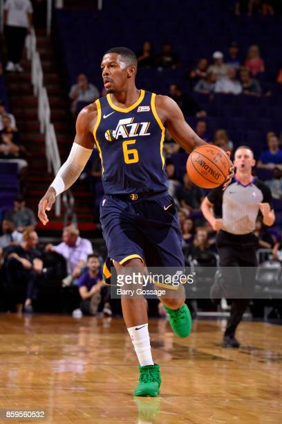 Joe Johnson of the Utah Jazz handles the ball against the Phoenix Suns on October 9 2017 at Talking Stick Resort Arena in Phoenix Arizona NOTE TO...