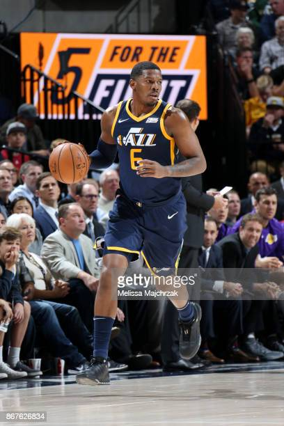 Joe Johnson of the Utah Jazz handles the ball during the game against the Los Angeles Lakers on October 28 2017 at VivintSmartHome Arena in Salt Lake...