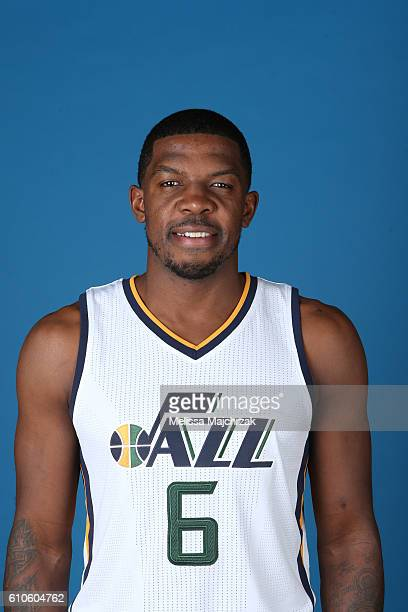Joe Johnson of the Utah Jazz poses for a headshot during 20162017 Utah Jazz Media Day at Zions Bank Basketball Center on September 26 2016 in Salt...