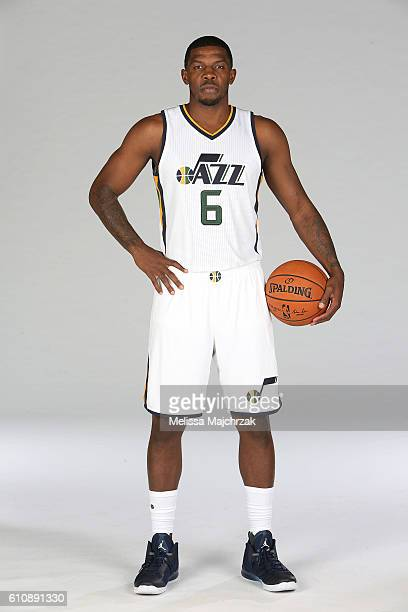 Joe Johnson of the Utah Jazz poses for a photo during the 20162017 Utah Jazz media day at Zions Bank Basketball Center on September 26 2016 in Salt...