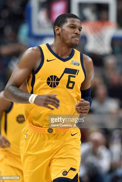 Joe Johnson of the Utah Jazz runs up court during a game against the Indiana Pacers at Vivint Smart Home Arena on January 15 2018 in Salt Lake City...