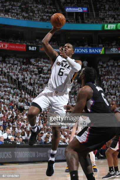 Joe Johnson of the Utah Jazz shoots the ball against the LA Clippers during Game Three of the Western Conference Quarterfinals of the 2017 NBA...