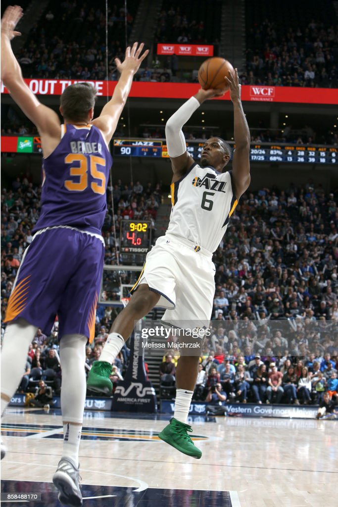Joe Johnson #6 of the Utah Jazz shoots the ball against the Phoenix Suns on October 6, 2017 at vivint.SmartHome Arena in Salt Lake City, Utah.