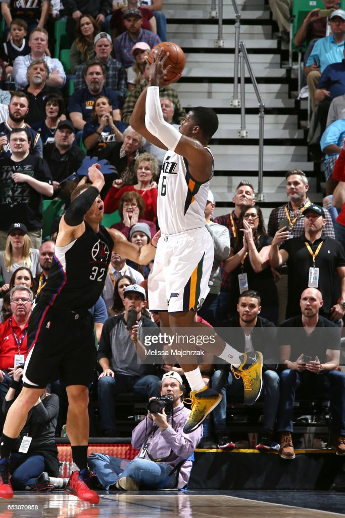 Joe Johnson #6 of the Utah Jazz shoots the ball during the game against the Los Angeles Clippers on March 13, 2017 at EnergySolutions Arena in Salt Lake City, Utah.
