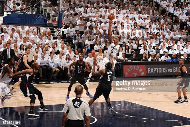 Joe Johnson of the Utah Jazz shoots the ball during the game against the Los Angeles Clippers during the Western Conference Quarterfinals of the 2017...