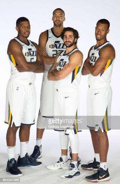 Joe Johnson Rudy Gobert Ricky Rubio and Rodney Hood of the Utah Jazz poses for a photo during media day at Zions Bank Basketball Center on September...