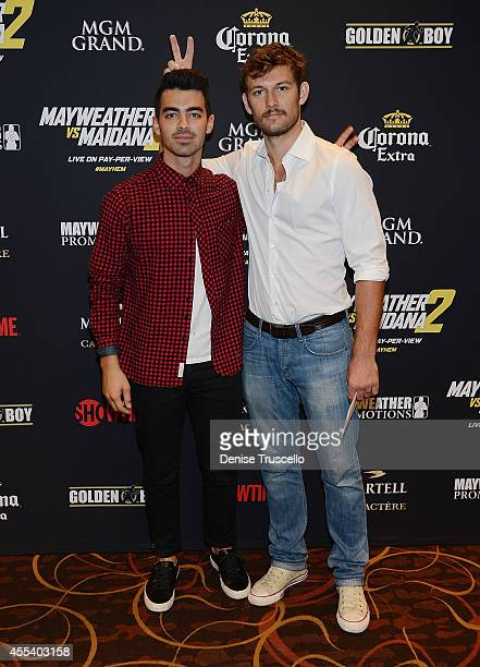 Joe Jonas and Alex Pettyfer arrive at Showtime's VIP PreFight party for 'MAYHEM MAYWEATHER VS MAIDANA 2' at MGM Grand Garden Arena on September 13...