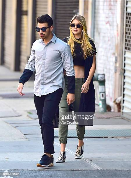 Joe Jonas and Gigi Hadid are seen in the East Village on July 11 2015 in New York City
