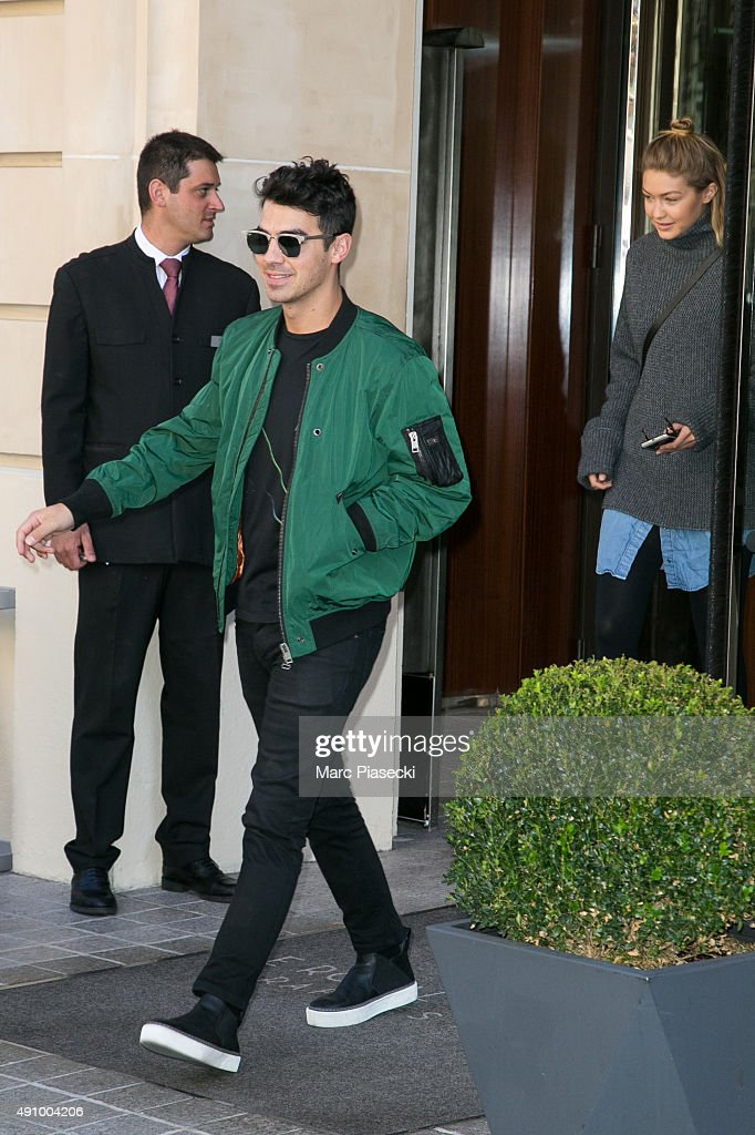 Joe Jonas and Gigi Hadid leave the 'Royal Monceau' hotel on October 2, 2015 in Paris, France.