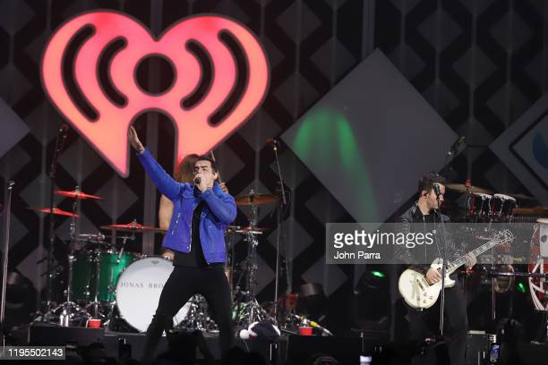 Joe Jonas and Kevin Jonas perform on stage during Y100's Jingle Ball 2019 Presented by Capital One at BB&T Center on December 22, 2019 in Sunrise,...
