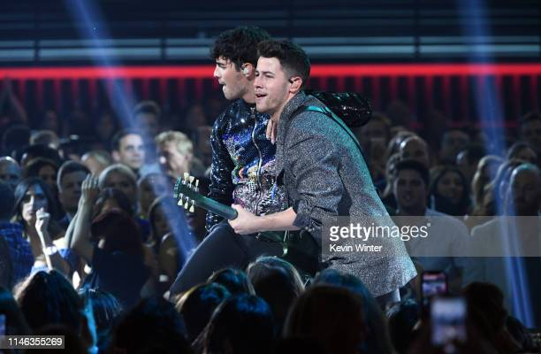 Joe Jonas and Nick Jonas of Jonas Brothers perform onstage during the 2019 Billboard Music Awards at MGM Grand Garden Arena on May 01 2019 in Las...