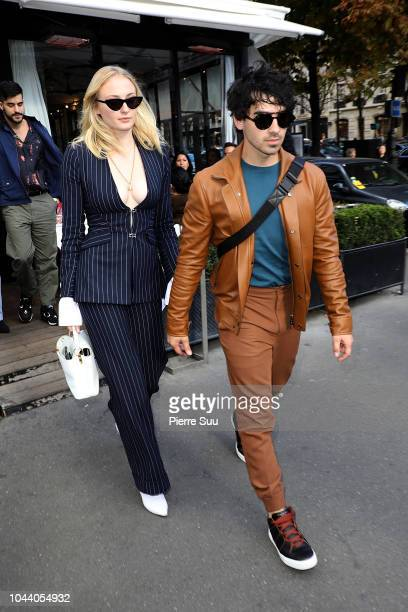 Joe Jonas and Sophie Turner are seen leaving a restaurant on October 1 2018 in Paris France