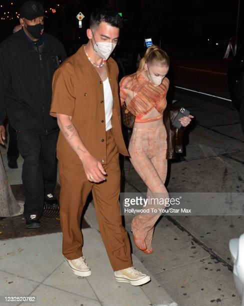 Joe Jonas and Sophie Turner are seen on April 24, 2021 in Los Angeles, California.