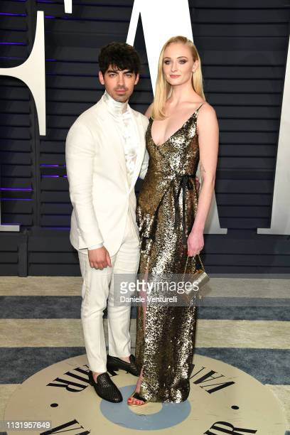 Joe Jonas and Sophie Turner attend 2019 Vanity Fair Oscar Party Hosted By Radhika Jones at Wallis Annenberg Center for the Performing Arts on...